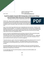 Terrill Foundation Awards 2014 Scholarship to Minnesota College-Bound Student Who Overcame Traumatic Brain Injury