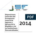 03 Disposiciones Generales Presupuesto 2014