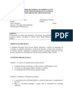 Ementa Sociologia Geral 2014 1 Vitor Hugo