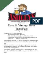 Ashley's 2014 Rare and Vintage Beer TasteFest Program