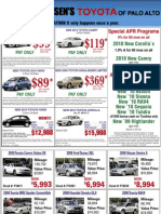 Toyota of Palo Alto Sunnyvale Mountain View - Print Ad Used Cars Corolla Yaris Camry Prius Highlander Rav4
