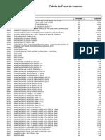 Tabela de Insumos 022
