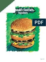 mcdonalds ingredients list