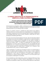 Posición del Movimiento Nueva República ante la Aprobación de la Ley de Alianzas Público-Privadas