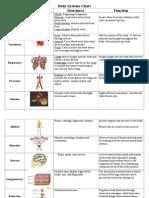 Body Systems Chart Key