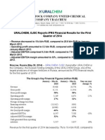URALCHEM, OJSC Reports IFRS Financial Results for the First Quarter of 2014