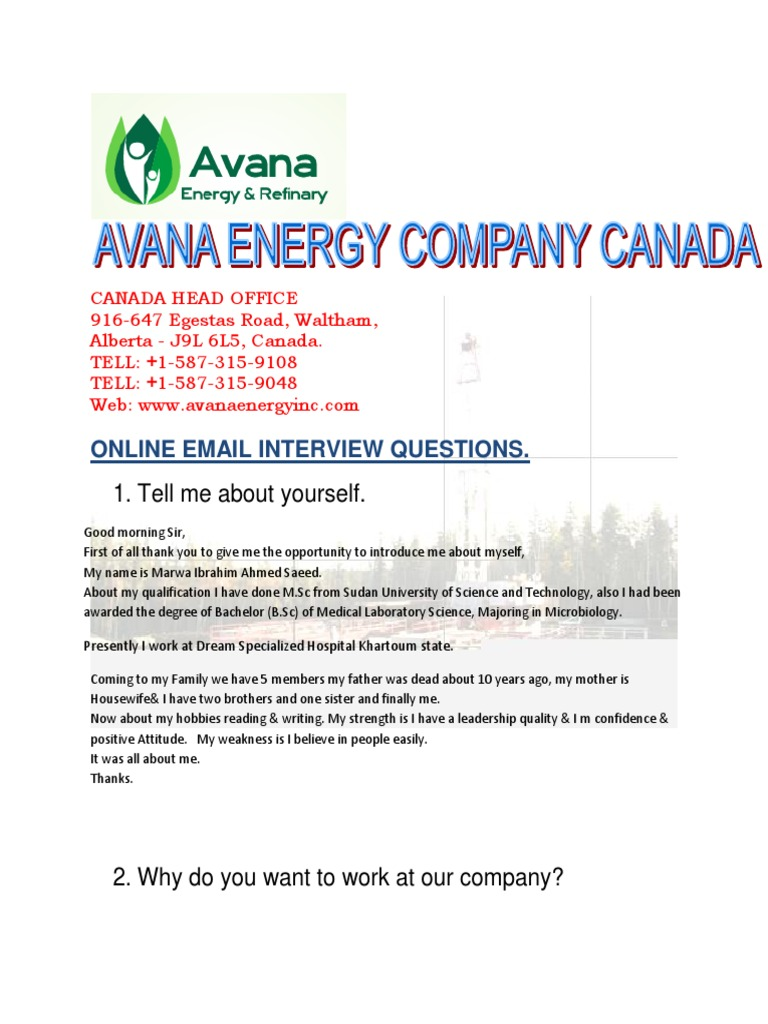 avana energy interview form