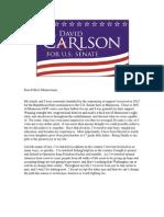 U.S. Senate Candidate David Carlson Campaign Announcement #Carlson4MN