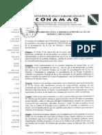 PRONUNCIAMIENTO ANTE LA PROMULGACION DE LA LEY DE MINERIA Y METALURGIA