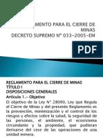 Reglamento Para El Cierre de Minas Ds 033-2005 Em