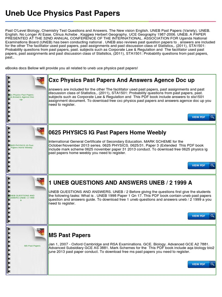 Grade 12 june examination question paper 2014 ebook array uneb uce physics past papers student assessment and evaluation rh scribd com fandeluxe Gallery