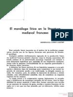 El Monologo Lirico en La Literatura Medieval Francesa