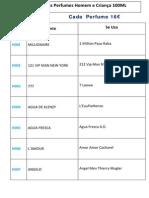 Lista de Equivalências Perfumes Homem e Criança 100ML