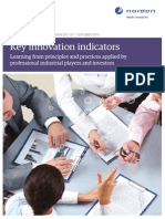 Key Innovation Indicators Learning From Principles and Practices Applied by Professional Industrial Players and Investors