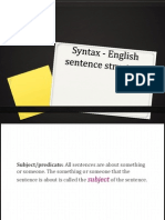 Syntax - English Sentence Structure
