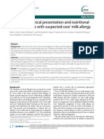 Clinical Presentation and Nutritional Cow Milk All