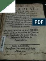 Isturizaga, Juan de Fray_ Relacion de La Real y Sumptuosa Pompa, Con Que El Señor Presidente Desta Real Real Audiencia de Quito ... Festejaron... San Ioseph