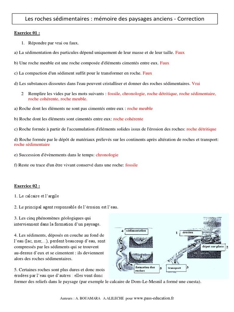 Correction Roches Sédimentaires Mémoire Des Paysages ...