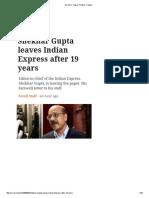 Shekar Gupta Farewell Letter