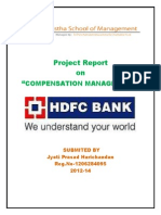 Study of Compensation Management in Hdfc Bank