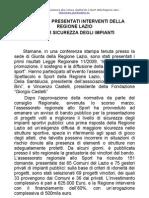 Sport, presentati interventi della Regione Lazio per sicurezza degli impianti