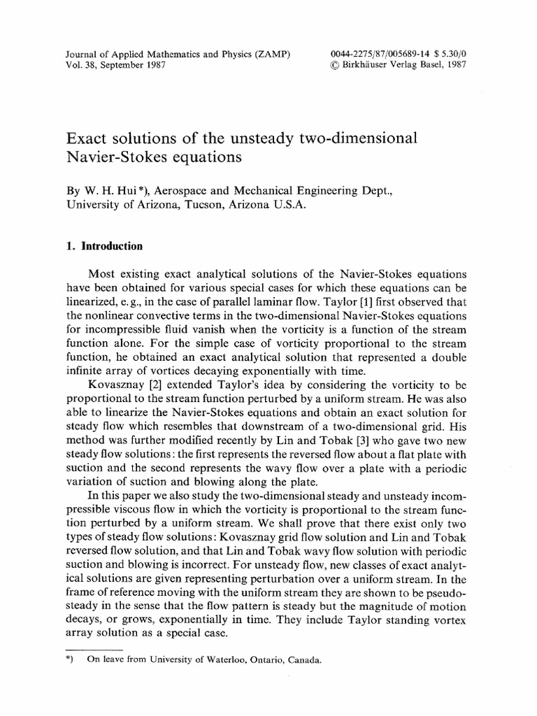 Exact Solutions of the Unsteady Two-dimensional Navier