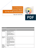 Summary Notes - 9.3 Acidic Environment