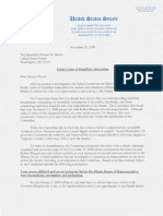 Ethics Committee Letter to Mr. Burris