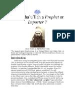 Was Baha'u'llah a Prophet or Imposter?