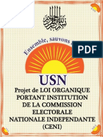 Projet de Loi Organique Portant Institution de La Commission Electorale Nationale Independante –Ceni