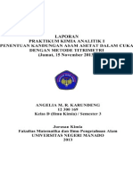 Determination of Acetic Acid content in Commercial Vinegar