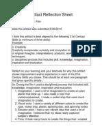 artifact reflection sheet