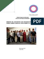 MEMORIA DEL ENCUENTRO CON ORGANIZACIONES INDIGENAS SOBRE CAMBIO CLIMATICO