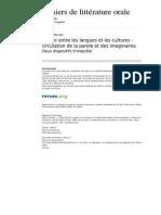 Clo 232-63-64 Conter Entre Les Langues Et Les Cultures Circulation de La Parole Et Des Imaginaires
