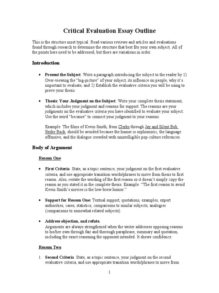 Critical Evaluation Essay Outline | Mistyhamel