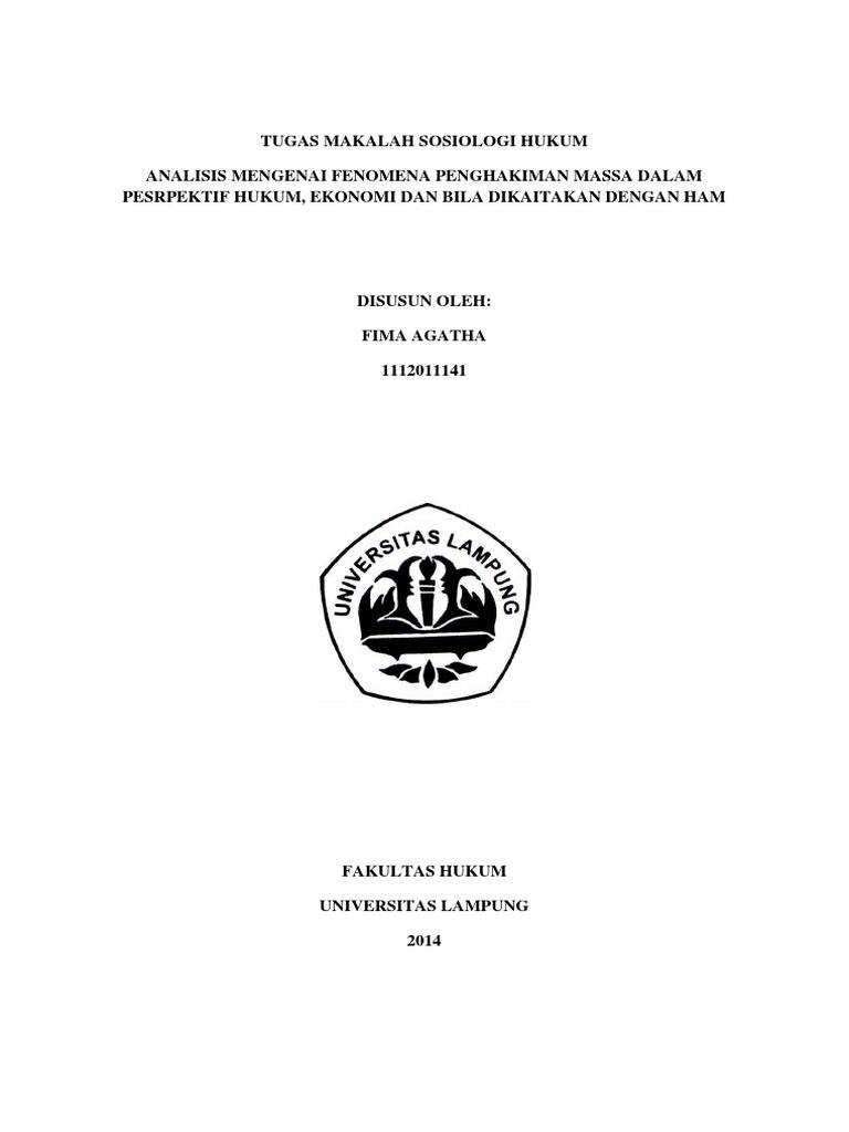 Makalah Sosiologi Hukum Fima Agatha 1112011141