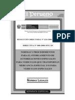 D.S 008-2008-MTC Procedimiento Para Autorizaciones de Vehiculos y Mercancia Especial