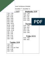 Parent Conference Schedule