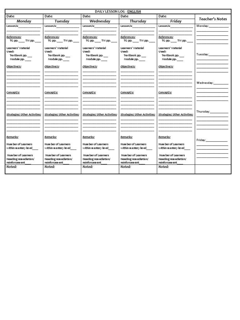 Elegant DLL Modified Daily Lesson Log For K 12 Teachers In Public Schools.