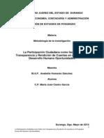 La Participación Ciudadana Como Factor de Transparencia y Rendición de Cuentas en El Programa Desarrollo Humano Oportunidades