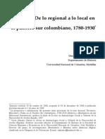 De Lo Regional a Lo Local en El Pacifico Sur Colombiano 1780 1930