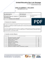 Syllabus Investigación 3BGU 2013-2014