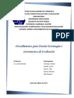 Procedimientos Para Diseñar Estrategias e Instrumentos de Evaluacion