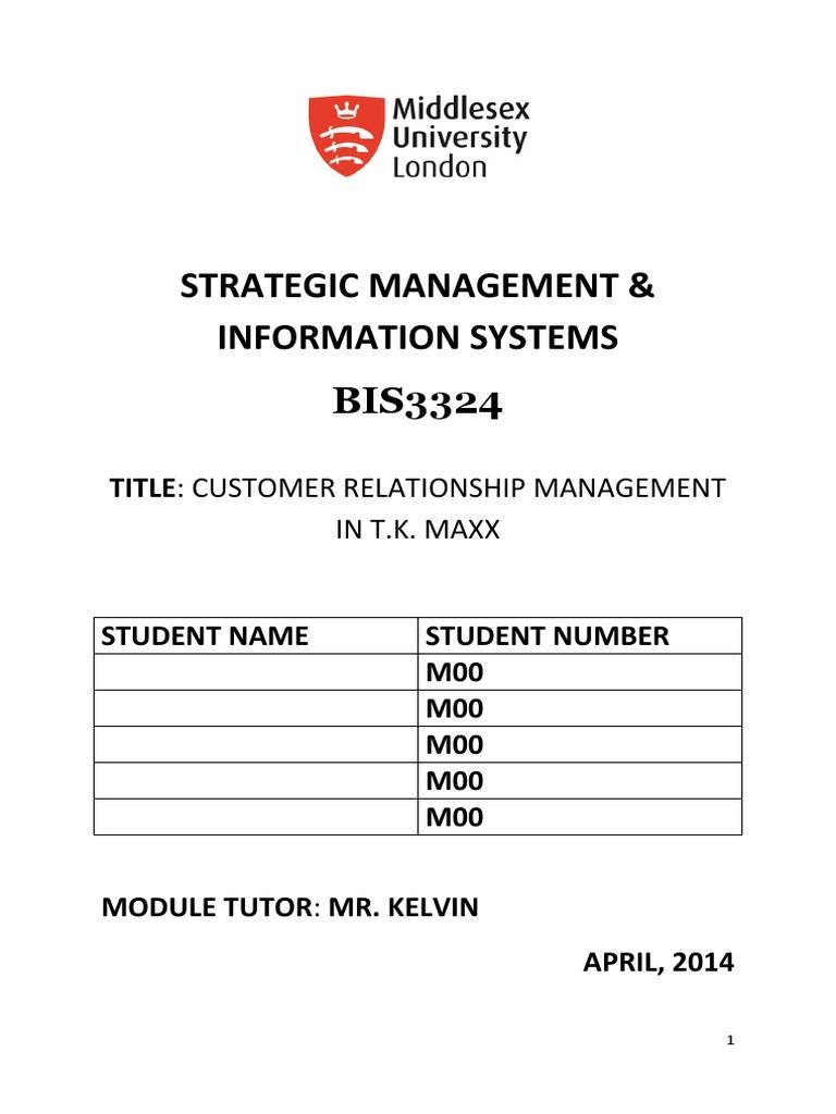 CUSTOMER RELATIONSHIP MANAGEMENT IN T.K. MAXX | Customer ...