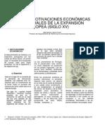 Sobre Las Motivaciones Economicas y Espirituales de La Expansion Europea Siglo XV