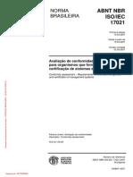 NBRs-NBR ISO IEC 17021 - 2007 - Avaliacao de Conformidade - Requisitos Para Organismo...