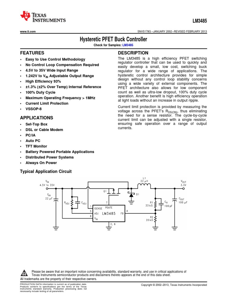 Lm3485 Q1 Capacitor Field Effect Transistor Switching Regulators Using Lm 2575 And 2577