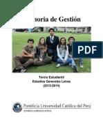 Memoria de Gestión - Tercio Estudiantil de Estudios Generales Letras (2013-2014)