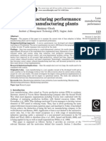 Lean Manufacturing Performance in Indian Manufacturing Plants