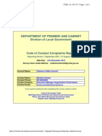 NSW DEPARTMENT OF PREMIER AND CABINET Division of Local Government, Code of Conduct Complaints Report. Reporting Period